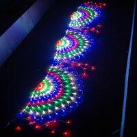 Thrisdar 3M 424 LED Peacock LED Mesh Net Fairy String Light 3PCS Screen Outdoor Garden Wedding Party Window Curtain Icicle Light