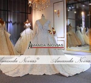 Image 4 - יוקרה מלא ואגלי בת ים שמלות כלה עם נתיק רכבת כבד ואגלי חתונת כלה שמלות