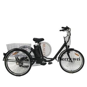 Электрический трехколесный велосипед, 250 Вт, 6 скоростей, для взрослых, французский трехколесный велосипед, электрический трехколесный вело...
