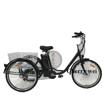 6 Speed 250W Motor Adult Electric Tricycle Pedicab Bike With a Basket for Shopping Hot Sale in European image