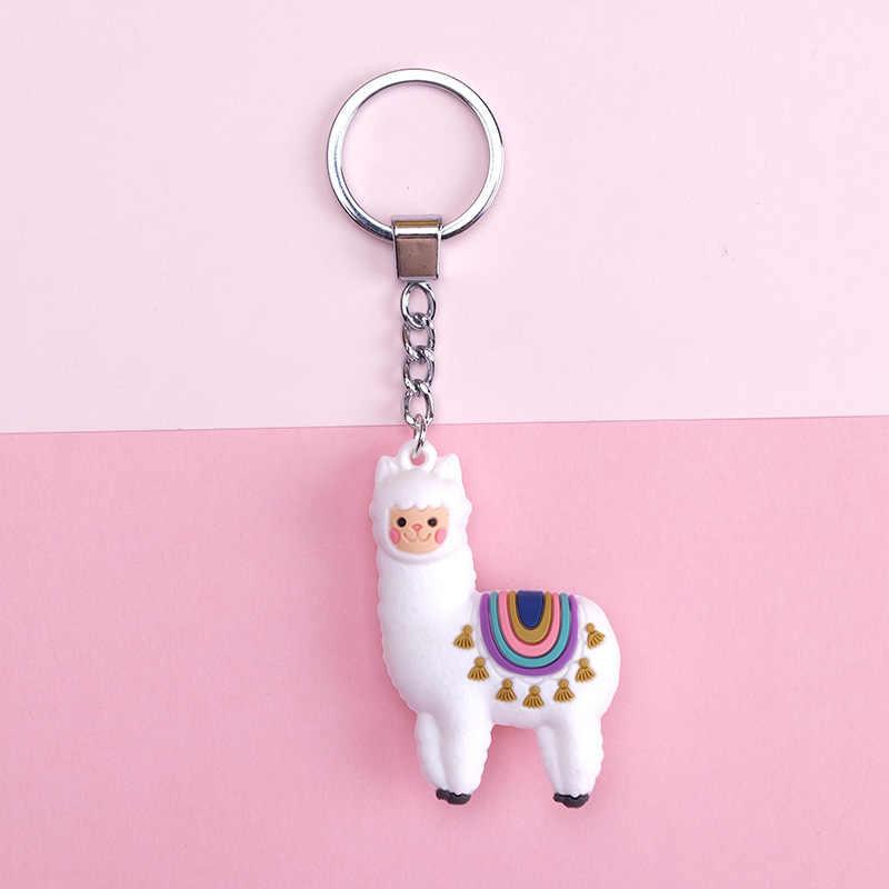 2019 oryginalny Cartoon alpaki brelok do kluczy płci męskiej i żeńskiej zodiaku alpaki breloki do kluczy imitacja biżuteria dla zwierząt prezent urodzinowy Key Ring