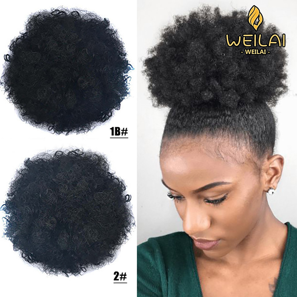WEILAI African Black Women Hair Accessories Fluffy Short Curly Hair Elastic Rope 2 Sizes 6 Colors Synthetic Buns For Black