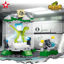 New Jurassic World laboratory Blocks Dinosaur Park Set Building Kits Blocks Raptor Model Bricks Toy Gift