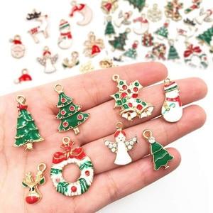 19/20Pcs Mixed Metal Enamel Charms Christmas Pendants Ornaments Beads for Bracelet Earrings Jewelry Making Xmas Tree Decoration