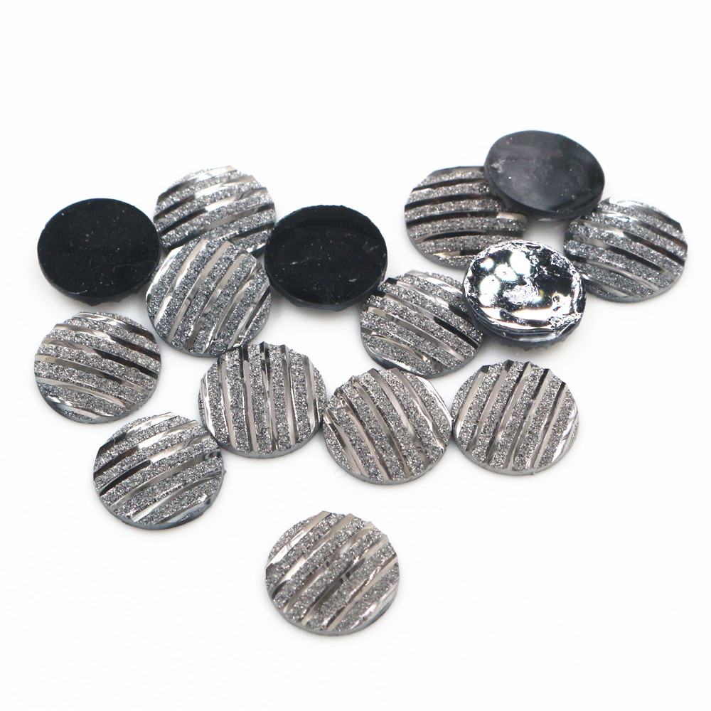 New Fashion 40pcs 12mm Gun Black Scrub Stripe Horizontal Line Flat Back Resin Cabochon For Bracelet Earrings Accessories