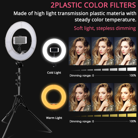"SAMTIAN ring light photo Studio lighting 14"" 384 PCS LED ring lamp Dimmable With phone clip tripod for YouTube makeup ringlight Multan"
