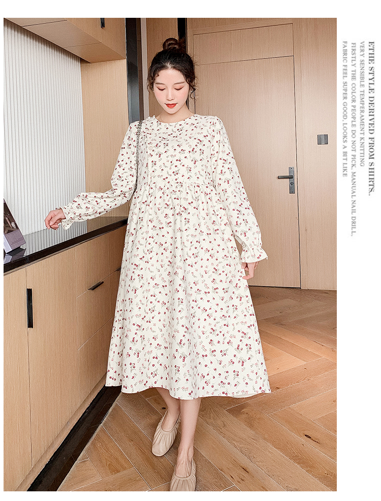 5915# 2021 Spring Chic Ins Floral Printed Maternity Long Party Dress Elegant Loose Clothes for Pregnant Women A Line Pregnancy