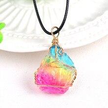 100% cristal natural galvaniza pingente rocha mineral espécime jóias reiki cura energia pedra para unisex charme presente lembrança