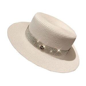 Летняя шляпа Bauhinia Hepburn, простой плоский Топ, белая Элегантная модная соломенная шляпа с буквами M