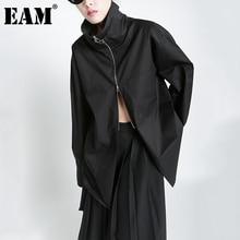 [EAM] Women White Zipper Big Size Long Blouse New Turtleneck Long Sleeve Loose Fit Shirt Fashion Tide Spring Autumn 2021 1DD6004