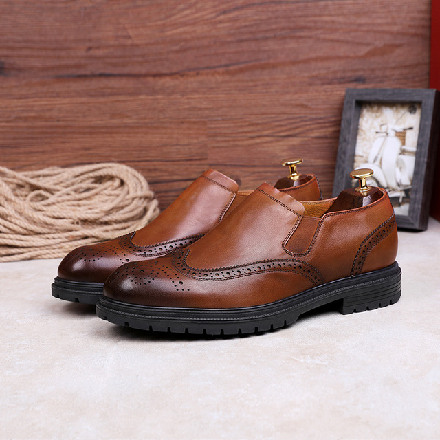 DESAI Fur Mens Outdoor Men British Style Fashion Ankle Boots Black/Brown/Red Brogues Soft Genuine Leather Casual Shoes