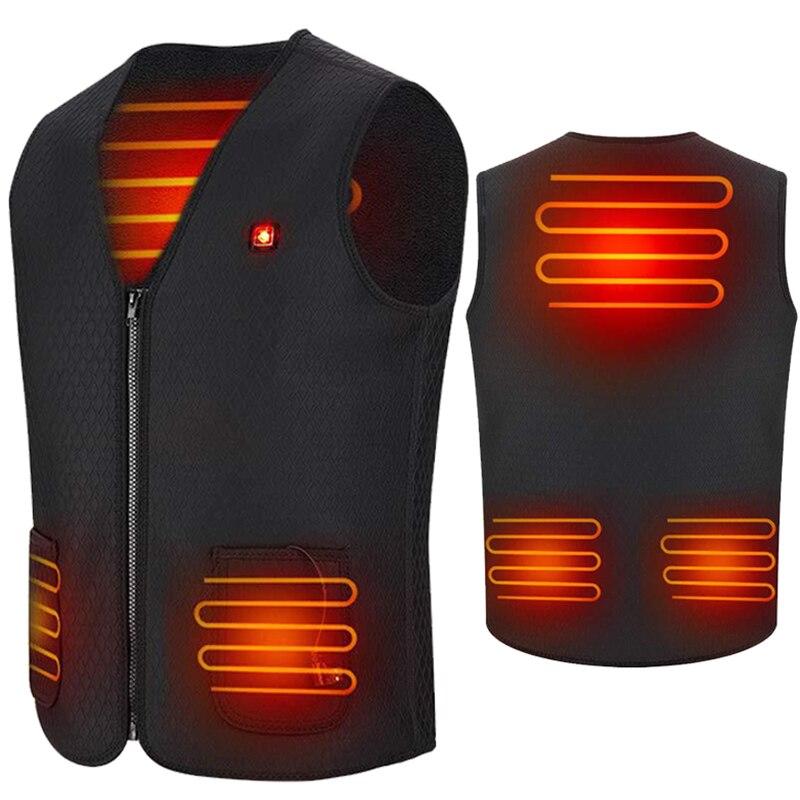 Зимний теплый жилет PARATAGO с подогревом для мужчин и женщин, умный жилет с инфракрасным подогревом и USB, куртка с подогревом и батареей, жилет д...