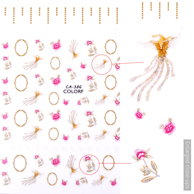 3D embossed nail sticker flower adhesive DIY manicure slider nail art tips decorations decals in Stickers Decals from Beauty Health