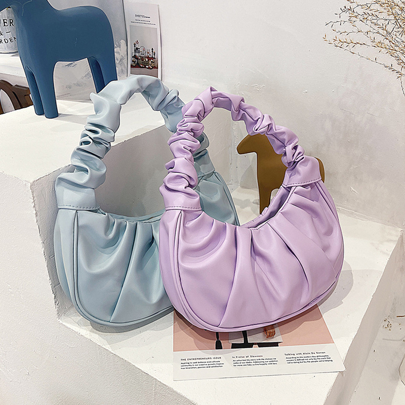 Fashion-Pleated-Handle-Bags-For-Women-Solid-Color-Cloud-Bags-PU-Leather-Shoulder-Bags-Armpit-Bag (3)