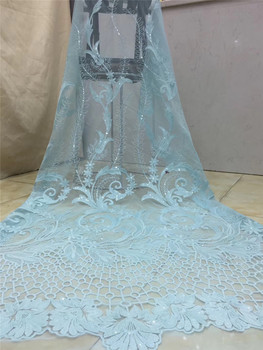 2020 High quality embroidered sequence African  French tulle mesh Guipure Nigerian double organza sequins lace fabric