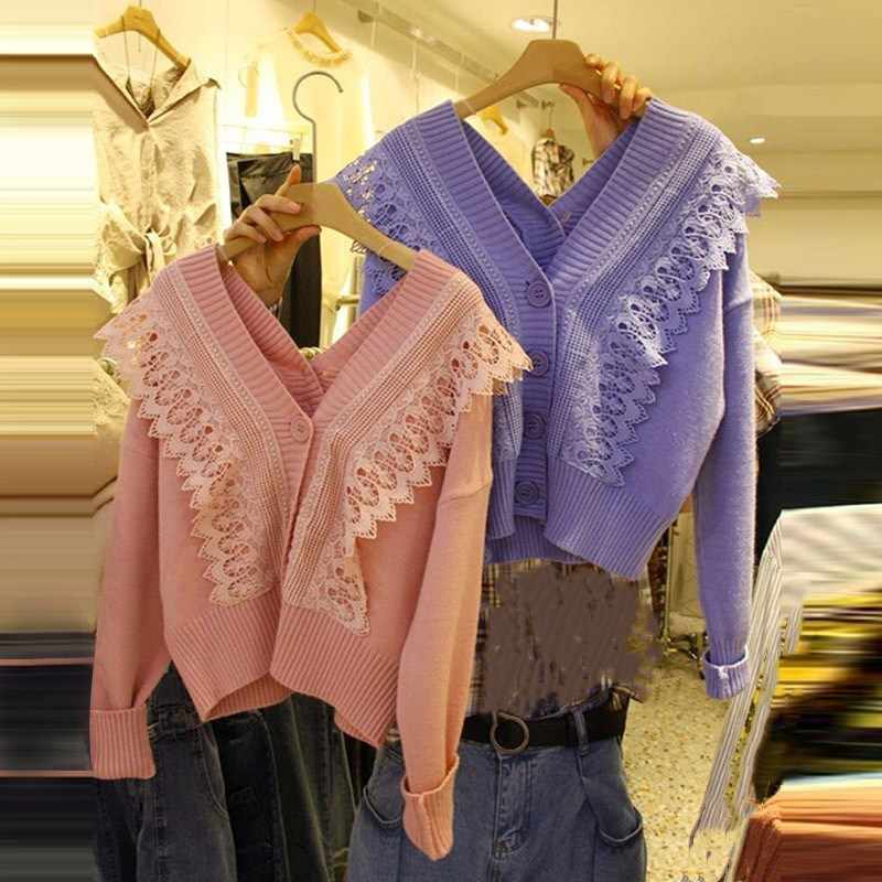 Осенняя мода для женщин свободный длинный рукав кружева свитер кардиган кардиганы для женщин повседневный v-образный вырез кардиган Pull Femme