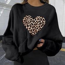 Женский свитшот в стиле пэчворк с длинным рукавом и леопардовым принтом сердца, Осень-зима 2017, черный пуловер, толстовки