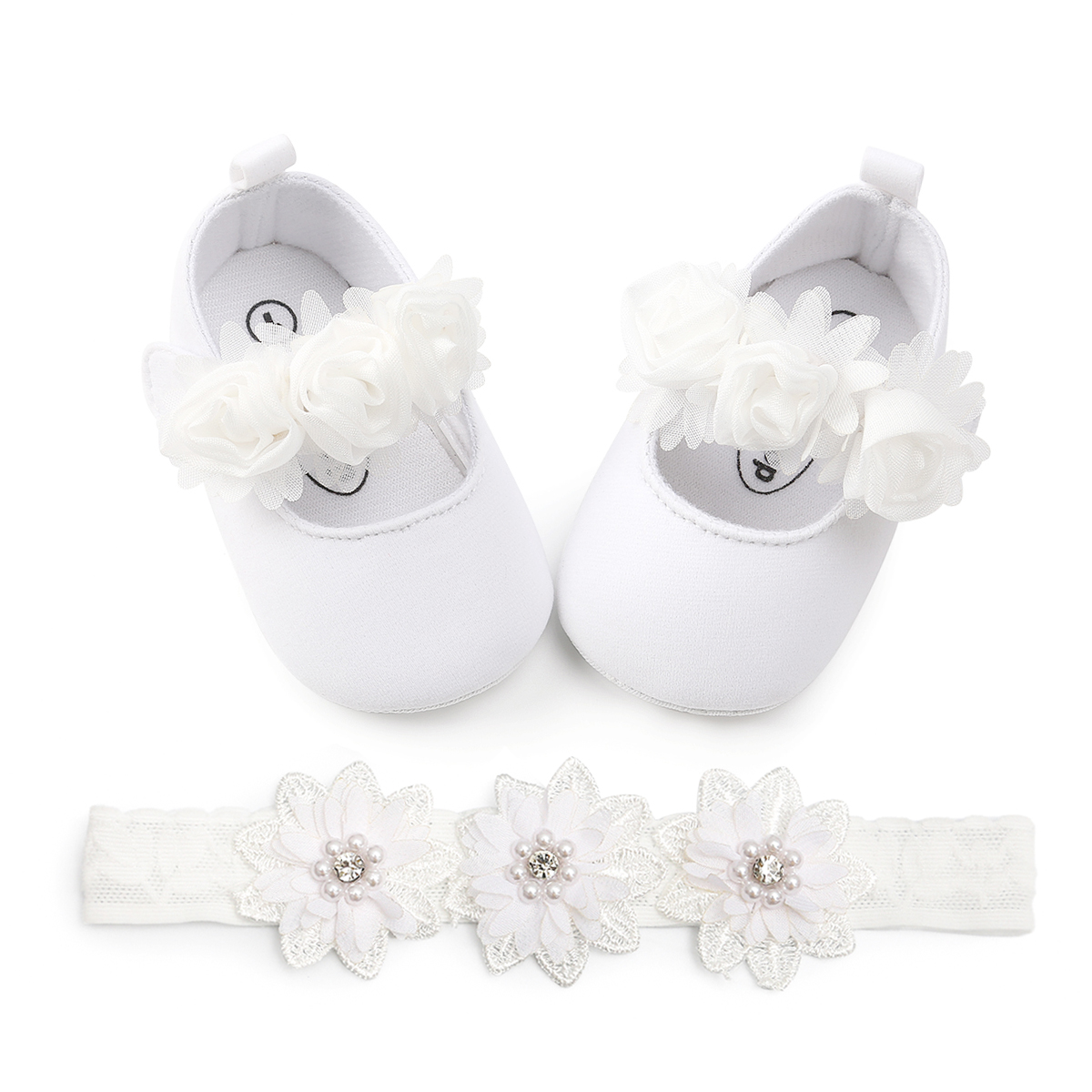 Moccasin Baby Shoes With Headband Newborn Girl Infant Cotton With Flower Headband Baby Girl Shoes