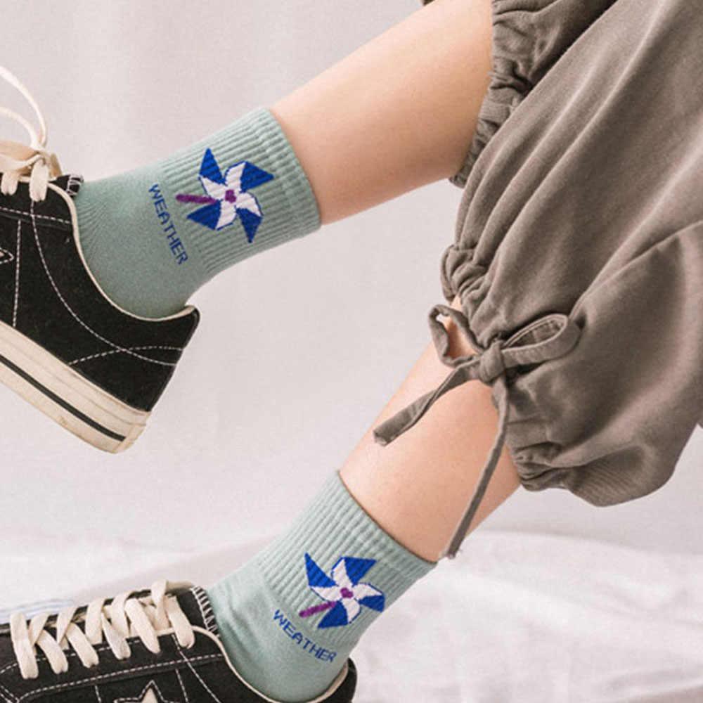 חדש Kawaii נשים ארוך גרביים קוריאני סגנון שמש ירח טחנת רוח קשת דפוס כותנה גרבי Cartoon מזג אוויר גרביים