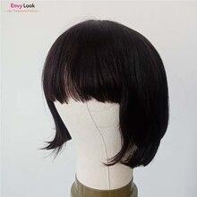 Wigs Salon Human-Hair Women Brazilian Short Straight for Black 150-Density Envy-Look
