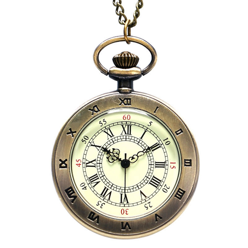 Simple Style Steampunk Beige Dial Small Antique Bronze Roman Numerals Dial Quartz Pocket Watch Necklace Pendant Mens Gifts Women