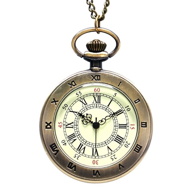 Simple Style Steampunk Beige Dial Small Antique Bronze Roman Numerals Dial Quartz Pocket Watch Necklace Pendant Mens Gifts Women