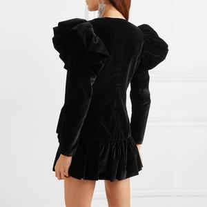 Image 3 - TWOTWINSTYLE Elegant Patchwork Diamond Ruffle Dress For Women V Neck Long Sleeve High Waist Dresses Female 2020 Autumn Fahsion