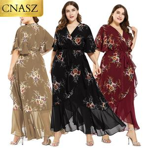 New design Summer Plus Size Dress Women's Printed Chiffon Stitching Fashion Slit Irregular Ladies Floral Maxi Dress
