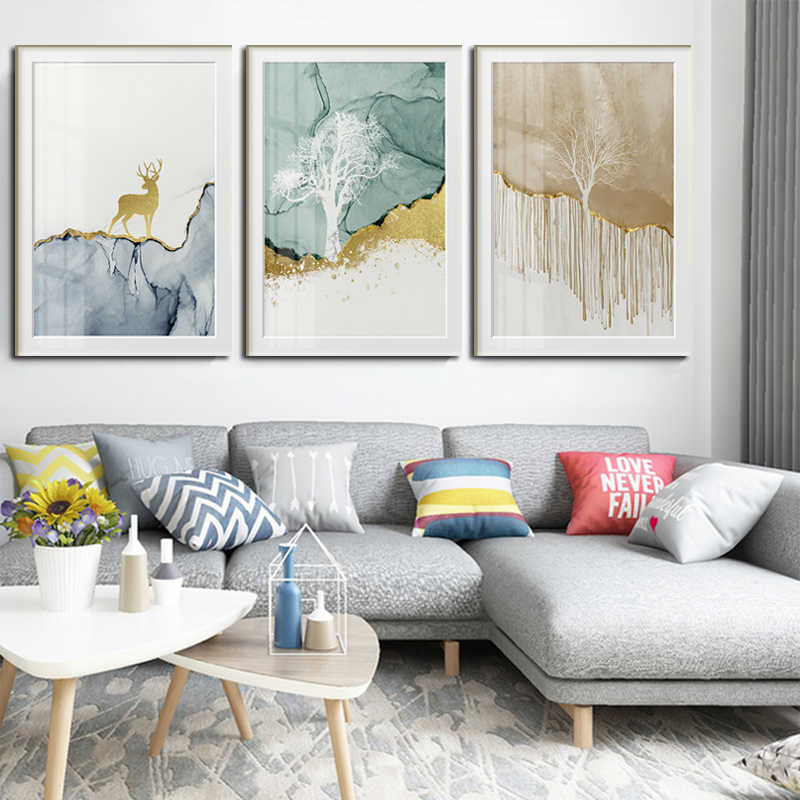 Wall Art Canvas Painting Abstract Golden Deer Birds Posters Prints Wall Pictures