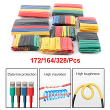 127/164/328/pces/conjunto tubo de psiquiatra de calor sortido isolamento shrinkable tubo 2:1 fio cabo manga kit
