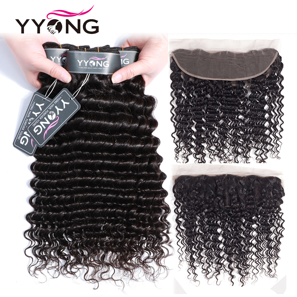 YYong 3 Bundles Peruvian Deep Wave Bundles With Frontal Ear To Ear Lace Frontal With Bundles