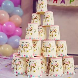 Image 5 - Regenbogen Einhorn Geburtstag Party Einweg Geschirr Set Dient 8 Kinder Favor Einhorn led licht Baby Shower Party Dekoration