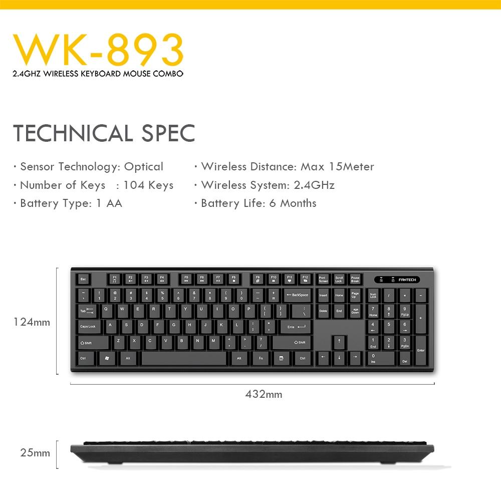 Fantech WK-893 Wireless Keyboard Mouse Combo 8