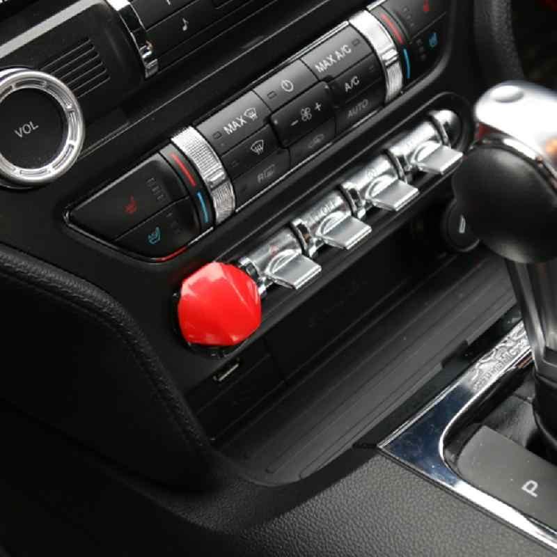 Navegación centralizada avión arranque botón de parada cubierta recortada roja para Ford Mustang 2015 + Interior moldura pegatinas nuevo
