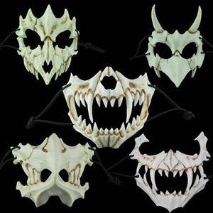 Image 2 - 17 Style Dragon God Mask Cosplay Prop Tengu Tiger Mask Halloween Resin Animal Theme Masks