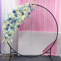 Customize Artificial flower runner wedding decor stage road lead backdrop grid flower row white iron ring arch stand flower
