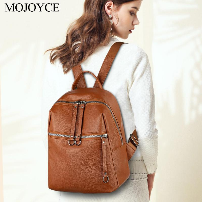Women Backpacks Soft PU Leather Backpack Shoulder Daypack 2020 Fashion Female Rucksack Mochilas Mujer Casual School Bag For Girl