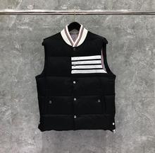 2020 Fashion TB THOM Brand Men Coats Slim Fit Short Jacket Striped Solid Down Vest Casual Winter Clothing cheap Wide-waisted bx01 Single Breasted Sleeveless Pockets STANDARD Broadcloth NYLON White goose down NONE Polyester 150g-200g