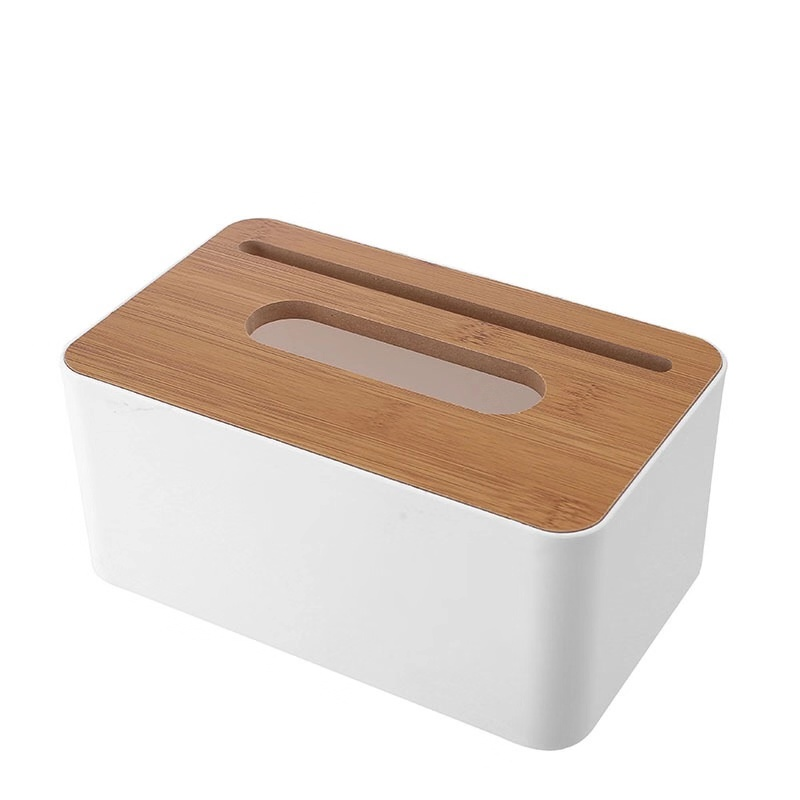 Desktop bamboo tissue box creative multi-function mobile phone living room paper towel car