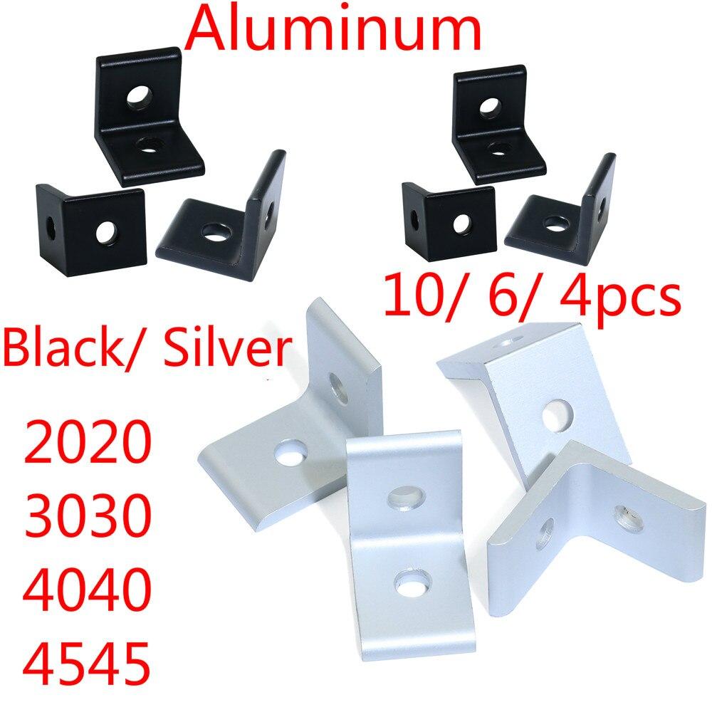 Aluminum Extrusion Profile Black/ Silver 2020 3030 4040 4545 2 Hole 90 Degreee Inside Corner Bracket 10pcs/ 6pcs/ 4pcs