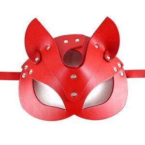 Image 5 - Bdsm máscara de gato de couro para as mulheres halloween cospaly festa máscaras catwoman fetiche sexo máscara sexy com nervuras orelhas de coelho máscara facial senhoras