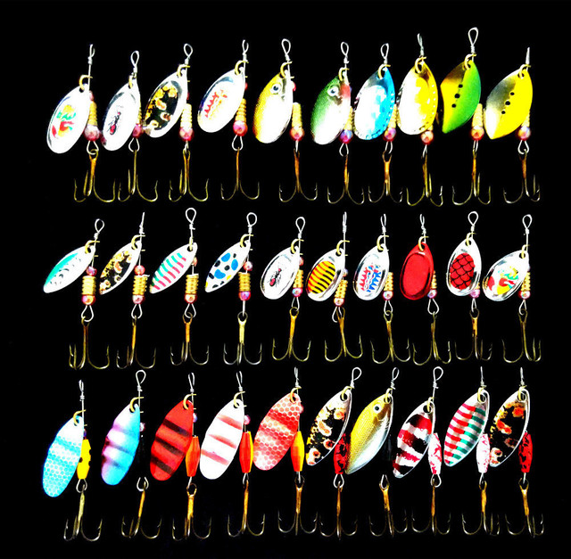 30pcs Set Small Multi-Color Fishing Lure Spoon Bait Metal Spinnerbait Tackle Spinner