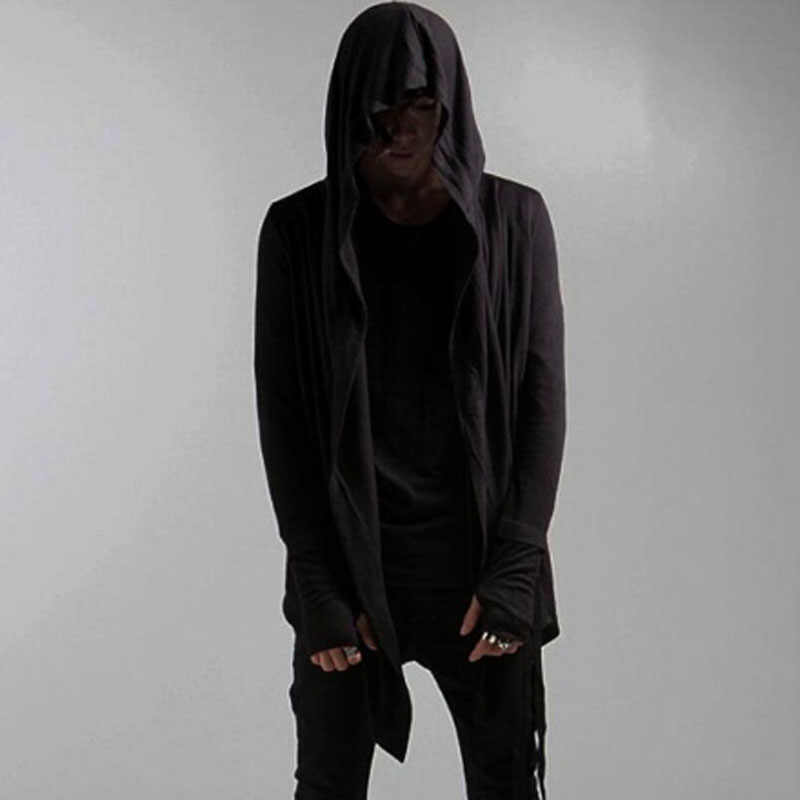 Mens Punk Rock Gothic Cloak Cape Jackets Coats Black Asymmetric Cardigan Jacket