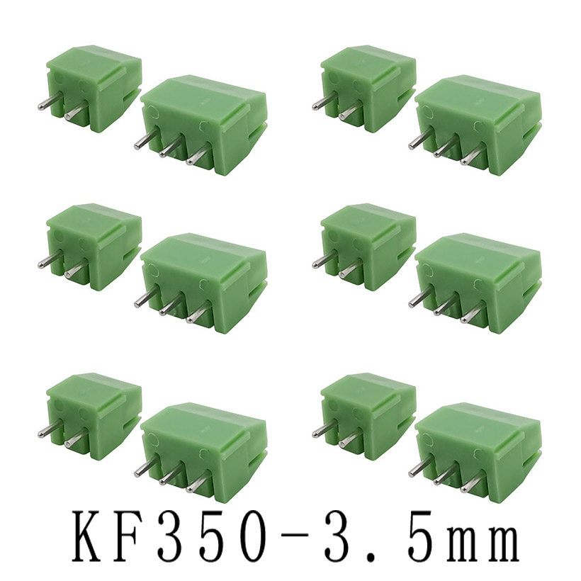 KF350-3.5-2P-3P 3.5mm Pitch 2 Pin 3 Pin Spliceable Plug-in PCB Screw Terminal Block Connector KF350 300V 10A For 24-18 AWG Cable