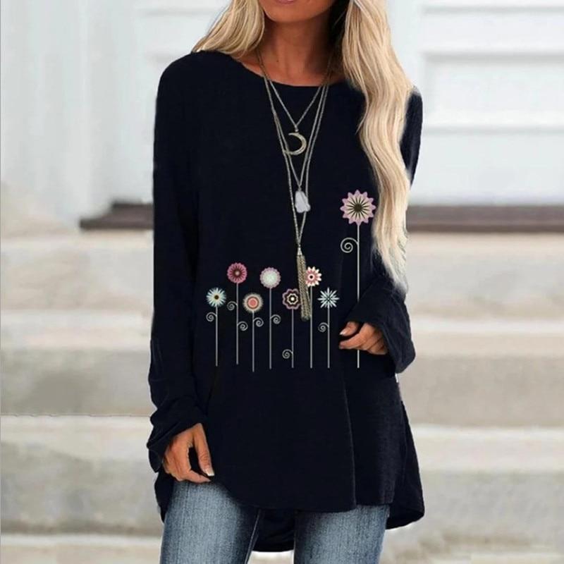 חדש סתיו פרחוני הדפסת Loose חולצות ה-t נשים ארוך שרוול לא מזדמן בתוספת גודל S-5XL נקבה חולצות 2019 נשים בגדים חולצות
