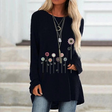 New Autumn Floral Print Loose Tshirts Women Long Sleeve Casual T Shirt