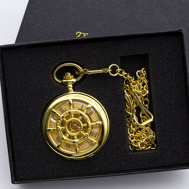 Antique Double Face Mechanical Pocket Watches Luxury Necklace Chain Skeleton Gold Pocket Fob Watch PJX1382