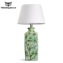Chinese Classical Creative Table Lamp Ceramic LED Fabric Lights Reading Bedside Desk Living Room Bedroom