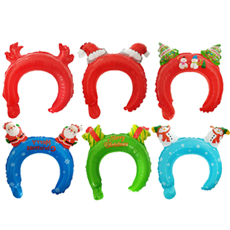 5pcs/set Inflatable Christmas Hats Headband Balloon Toys Cute Happy New Year Party Hat Children Present Gifts Kids Birthday Hats
