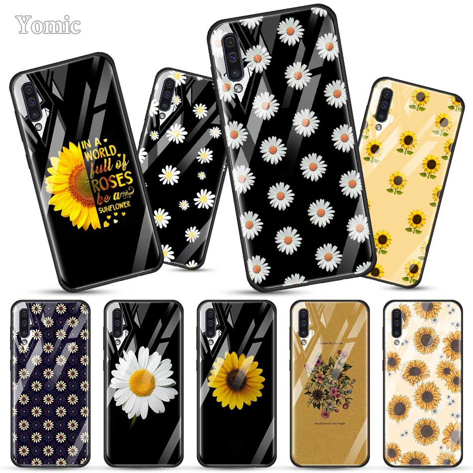 Summer Daisy Sunflower Floral Flower Fitted <font><b>Case</b></font> for <font><b>Samsung</b></font> Galaxy A50 A70 A51 A71 <font><b>A10</b></font> A20 A30 J6 J4 Plus A40 M30 S <font><b>Glass</b></font> Cover image